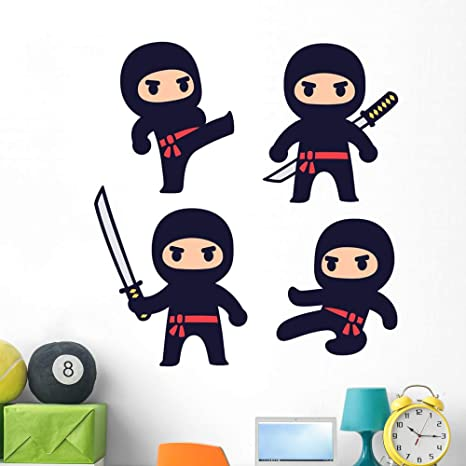 Amazon.com: Wallmonkeys Cute Cartoon Ninja Set Wall Mural ...