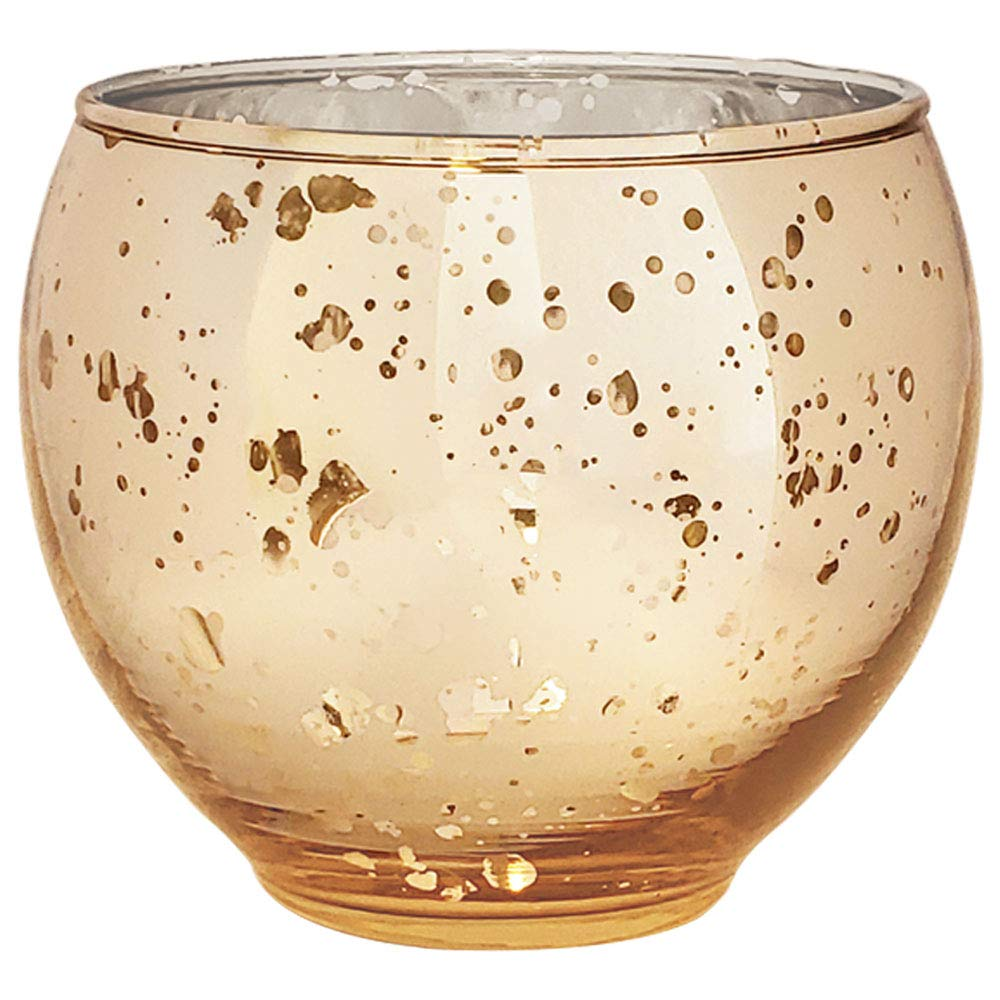 Just Artifacts Ovoid Mercury Glass Votive Candle Holders 2.75'' H - Speckled Gold (Set of 12)