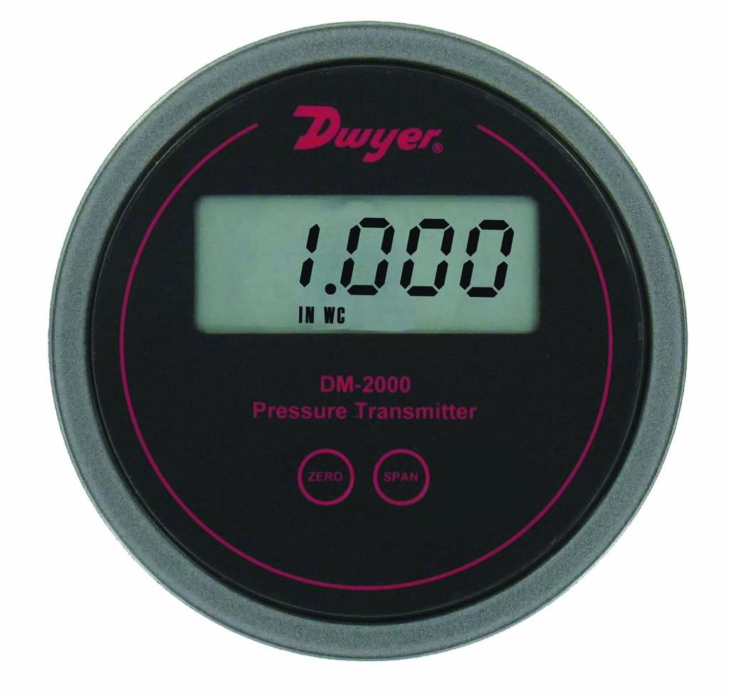 Black Background 0-0.1WC Dwyer Series DM-2000 Differential Pressure Transmitter with LCD