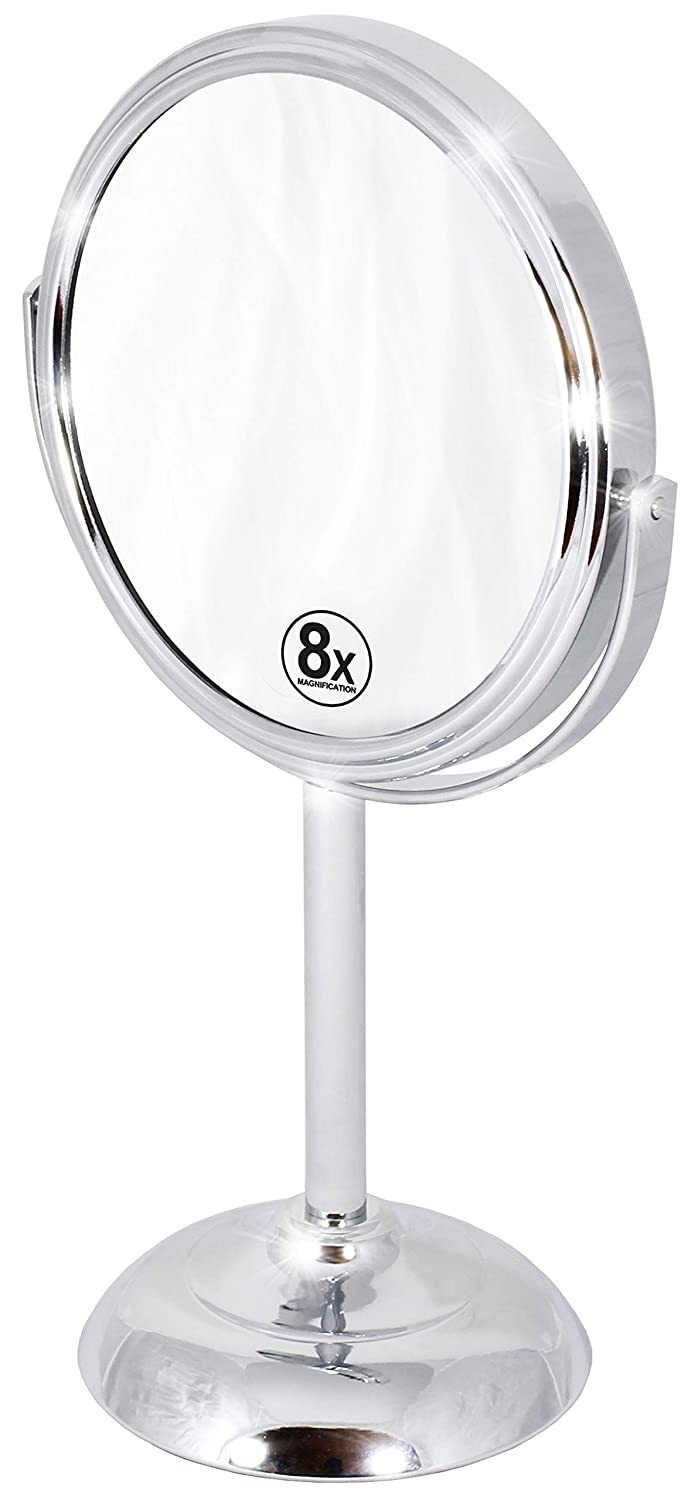 Decobros 6-inch Tabletop Two-Sided Swivel Vanity Mirror with 8X Magnification, 11-inch Height, Chrome Finish : Beauty