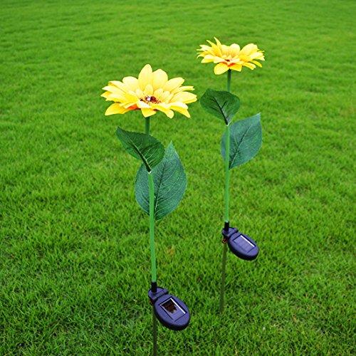 Set Of 2 Outdoor Solar Powered Sunflower LED Light Garden Waterproof Lamp For Garden Backyard Lawn Decoration ()