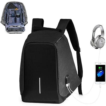 lingvi Mochila Antirrobo USB Mochila de seguridad con cargador,Mochila para ordenador portátil 15.6 Mochila Bolsa Impermeable de colegio viaje ...