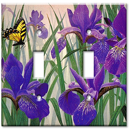 Art Plates - Butterfly in Irises Switch Plate - Double Toggle