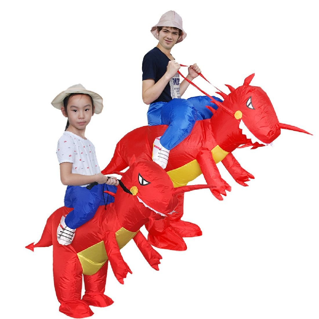 Inflatable Dinosaur Costume Cosplay Cool Men Ride On Red Dinos For Kids