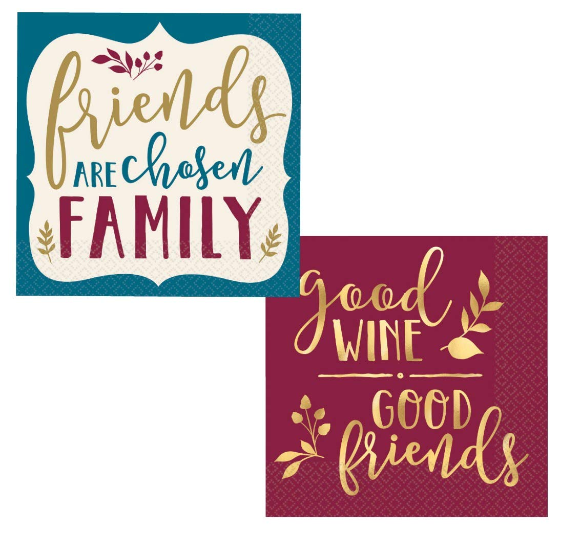 Fall Friendsgiving Cocktail Napkins Set - Bundle Includes 32 Beverage Napkins in 2 Different Designs PDE Party