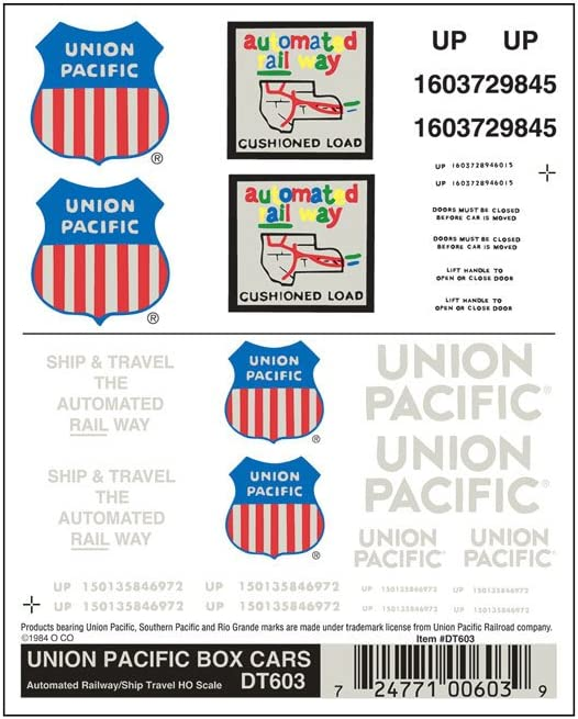 Woodland Scenics Dry Transfer Decals HO Scale Union Pacific Box Cars