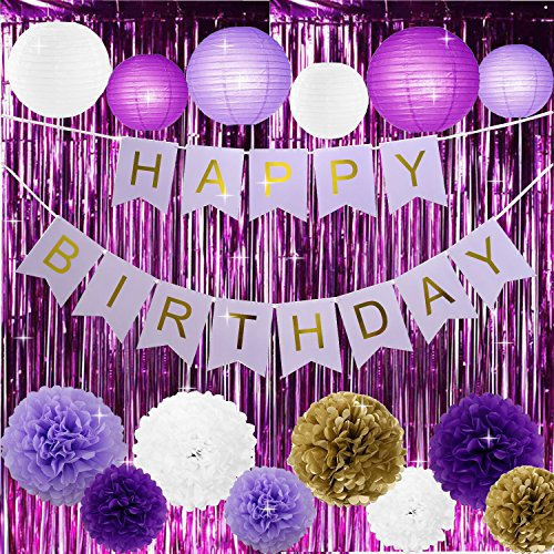 Kubert Light purple and purple Happy Birthday Banner with Tissue Pom Poms Fringe Purple Foil Fringe Curtain and Balloons for Baby Shower Girl Birthday Decorations, Bachelorette Parties, - Confetti Fringe