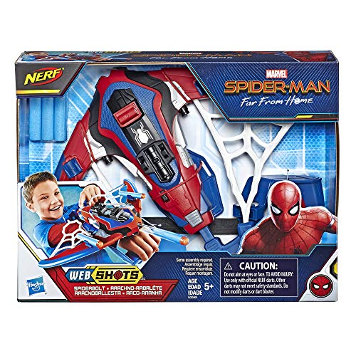61y0xiacraL - Spider-Man Web Shots Spiderbolt Nerf Powered Blaster Toy for Kids Ages 5 & Up