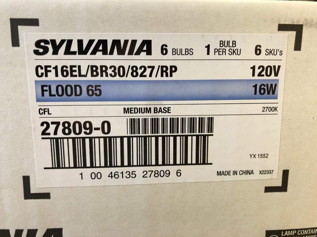 12 Pieces Sylvania 27809 CF16EL/BR30/827/RP Flood 65 16W 120V Medium Base 2700K Non-Dimmable