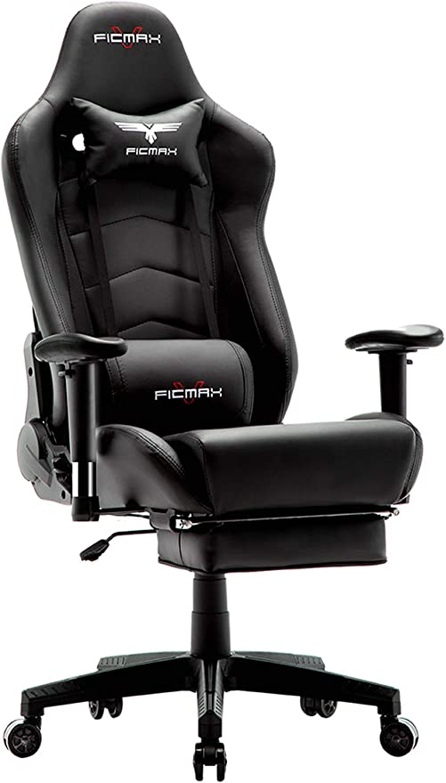 Amazon Com Ficmax Gaming Chair With Footrest Ergonomic Pu Leather Computer Chair For Gaming Reclining High Back Office Chair With Massage Lumbar Support Racing Style Gamer Chair Large Size E Sport Chair Black Kitchen