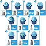 Frostinc Perfectly Assorted Cake Decorating Supplies 34 Pcs Kit - 10 Russian & Cone Icing Tips with 2 Couplers, 2 Reusable & 6 Disposable Piping Bags, 8 Model Tools, Scrapers & BONUS Items 15 ✅ PERFECTLY ASSORTED - Why buy expensive store-bought cakes? Frostinc provides all the cake tools you need to shape and decorate cake after cake with the added ENJOYMENT for less. Create the most diverse cake frosting designs with us. Unlike other kits, we've specially selected cake decorating supplies for your kitchen in this AMAZING bundle - achieve the best results to wow your friends and family. ✅ GREAT TASTE - When it comes to cake and cupcake decorating, you need the right tools in one set. Pipe and decorate with 4x russian icing tips, 6x cone icing tips, 2x couplers, 8x modelling tools, 2x heavy-duty reusable and 6x lightweight disposable piping bags, 3x cake levellers, 1x cupcake corer, 1x mini spatula, 1x instruction manual, 1x storage box and a complimentary cleaning brush. ✅ FREE GUIDE INSIDE - Buying for a child with no experience whatsoever? With such a GREAT selection of cake modelling and shaping tools, we want the task to be easy for you and those receiving your gift. Rest assured that our kit arrives with a printed instruction manual in addition to a handy ebook containing tips & recipes emailed directly to you. All of our kits have a LIFETIME WARRANTY so that you can decorate in confidence.