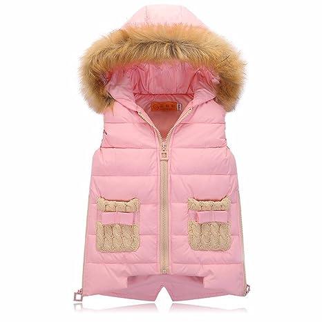 2016 Niñas Sin Mangas Chaquetas Furry Chaleco con capucha y cremallera Outwear Abrigos rosa Talla: