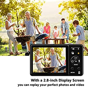 Digital camera – 2.8″ TFT LCD Display Rechargeable Simple Digital Camera with 20mp for Kid/Girls/Boys/Students/Elderly (Black)