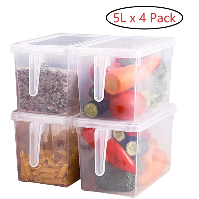 Sooyee Fridge Storage Containers Produce Saver, 4 Pack x 5L Stackable Refrigerator Organizer Keeper with Handle To Keep Fresh for Produce, Food,Fruits, Vegetables, Meat and Fish,Clear