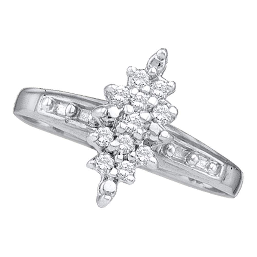 Sterling Silver Flower Diamond Cluster Ring Fashion Band Round Marquise Shaped Style Polished 1/10 ctw Size 6
