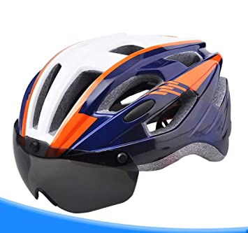 CZZ Casco De Bicicleta Gafas Integradas Sombrero De ...