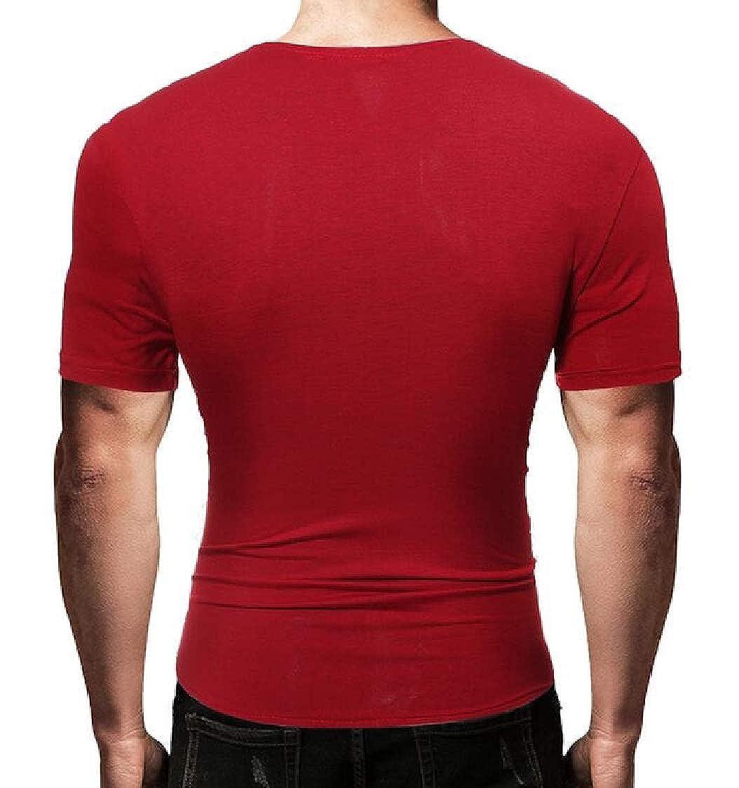 Nanquan Men Oblique Zipper Irregular Stylish Stitching Short Sleeve T-Shirt