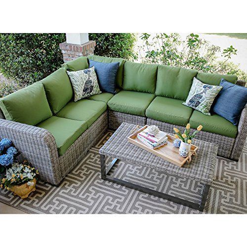 Leisure Made Forsyth 5 Piece Outdoor Sectional, Green Fabric