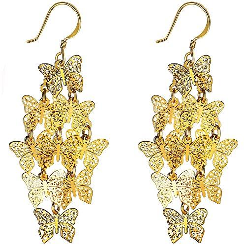 (XZP Filigree Earrings Dangling Chandelier Jewelry Tiered Butterfly Earrings for Women (Gold)