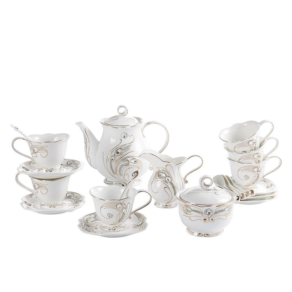 Elegantime Gold Diamond Tea Set, Phoneix Tail Accent, 23-Piece Teapot and Cup Set, Service for 6, Perfect for Tea Parties, Teatime & Gift