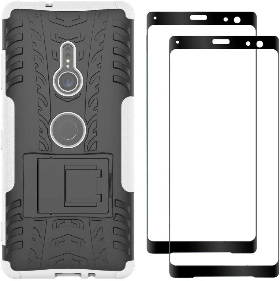 FANFO® Sony Xperia XZ3 Soporte Plegable Funda + [2 Pack] Cristal Templado, Blanco: Amazon.es: Electrónica
