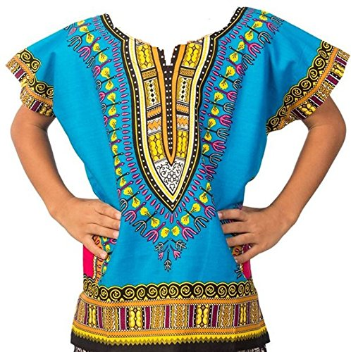 Decoraapparel Kids Traditional Dashiki Shirt Unisex African Boys Printed Dashiki Girls Blouse One Size (Turquoise Pink Yellow, One Size)