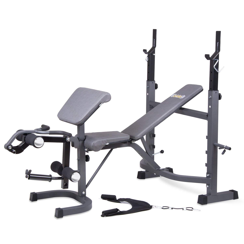Body Champ Olympic Weight Bench with Preacher Curl, Leg Developer and Crunch Handle, Dark Gray/Black BCB5860 (Renewed)