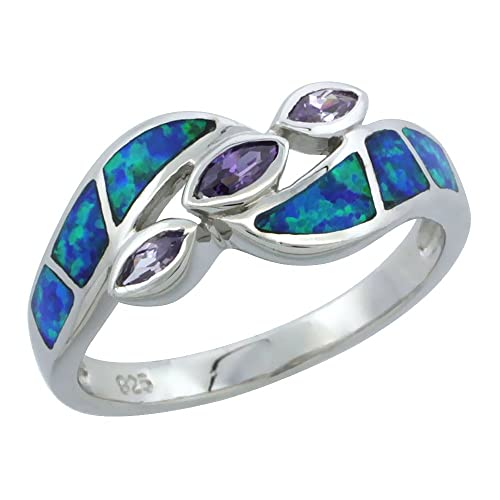 Sterling Silver Blue Synthetic Opal Marquise Bypass Ring for Women 3 Amethyst CZ Stones 3 8 inch