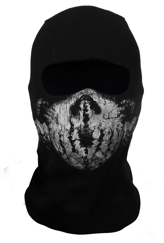 CoolChange cagoule noire pour moto avec dessin de crâne fantôme