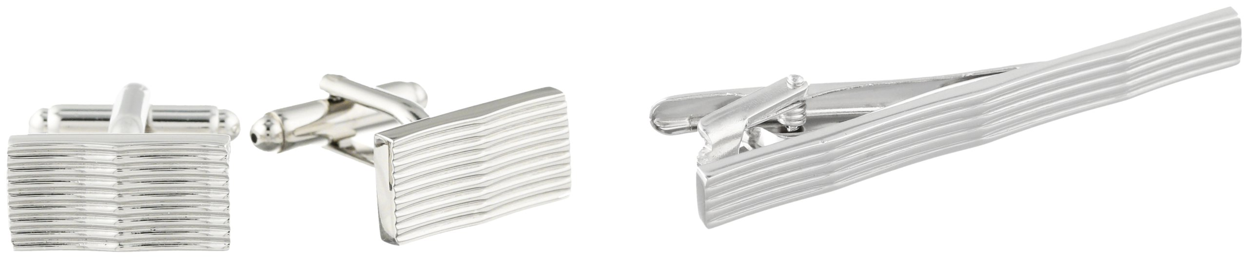 Stacy Adams Men's Cuff Link and Tie Bar With Ridges Set, Silver, One Size