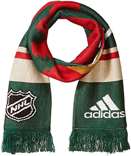 fan products of NHL Minnesota Wild Adult Men Pro Authentic Scarf with Oversized Cropped Logo, One Size, Red