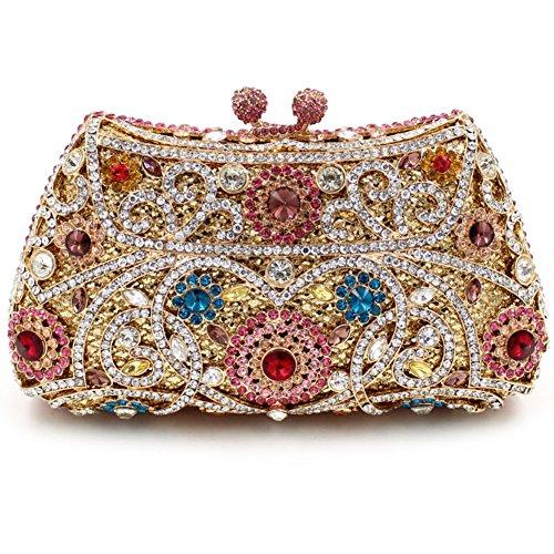 Damen Clutch Abendtasche Handtasche Geldbörse Glitzertasche Strass Kristall Muster Tasche mit wechselbare Trageketten von Santimon(11 Kolorit) Mehrfarbig