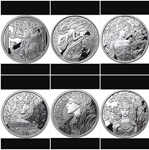 Slvr Series - Alphonse Mucha 6 0z .999 SLVR Proof Coins Complete Collection Art Series Set