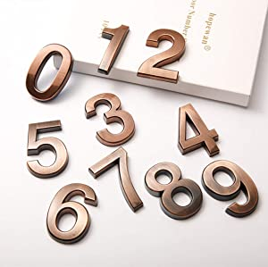 10 Pcs Door Numbers 0-9, 2 Inch Address Number Stickers for Mailbox/Apartments/Office, Classical Bronze, by FANXUS. (2 inch 0-9, Bronze)