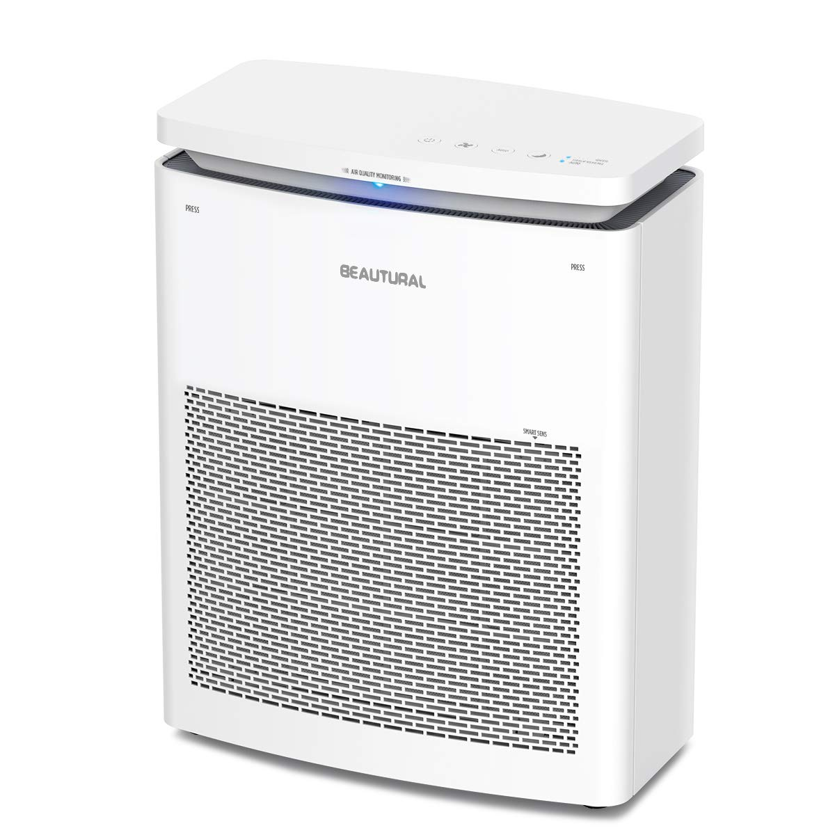 Beautural True HEPA Purifiers for Home with 2-in-1 Compound Filter Large Room Air Cleaner for Smokers, White