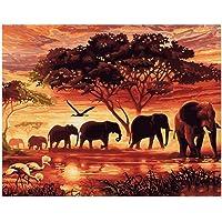 Pintura digital de bricolaje Elefantes al atardecer Animales
