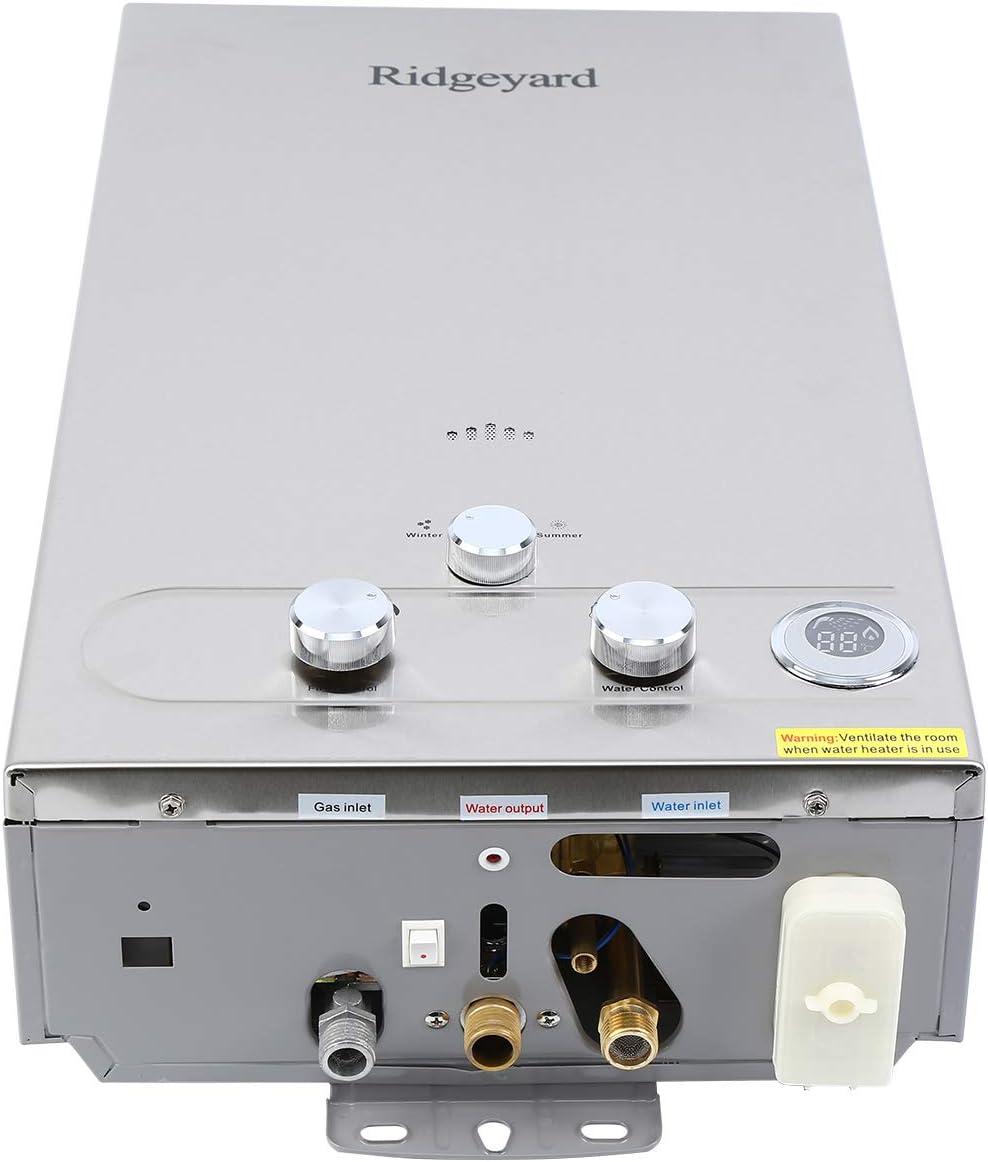 Iglobalbuy 12L LPG Calentador de agua Acero inoxidable Calentador de agua Instantáneo Caldera Cepillado Con ducha