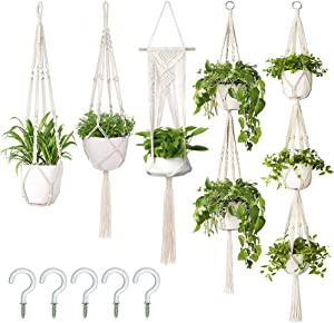 AerWo 5 Pack Macrame Plant Hanger Indoor Wall Hanging Planter + 5PCS Hooks, Handmade Hanging Plant Holder Basket Stand Decorative Flower Pot Holder for Indoor Outdoor Boho Home Decor(Different Tiers)