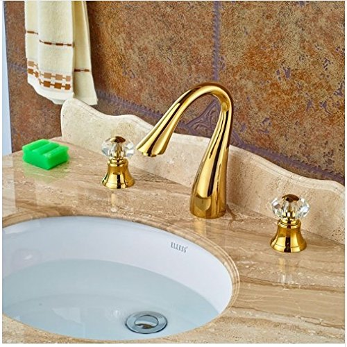 Gowe Widespread Double Crystal Handles Deck Mounted Basin Faucet Vessel Sink Tap Mixer Faucet 0