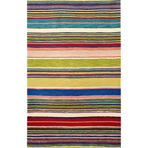 Liora Manne Inca 9441/24 Stripes Red/Multi Area Rug 5 Feet X 8 Feet (Stripes Inca Trans Ocean)