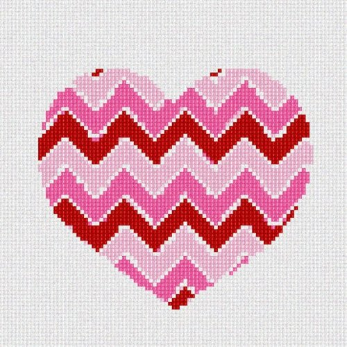 Heart Needlepoint Canvas (Heart Chevron Needlepoint Canvas)