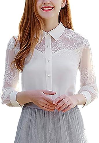 Blusas Mujer Oficina Encaje Camisa con Camisas Otoño Invierno Manga Larga Modernas Casual De Solapa Espesar Casuales Chic Camicia Bluse Tops Blancas: Amazon.es: Ropa y accesorios