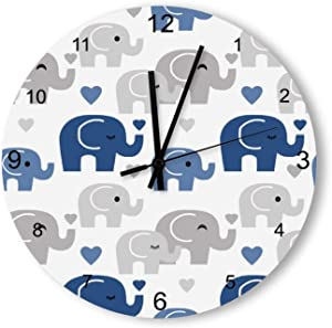 Round Wood Wall Clock Home Decor,Blue Elephant Safari Jungle Animals Baby Nursery Large Clock pattern, Battery Operated, no ticking sound, for home, the Kitchen, Living Room, Bedroom, Restaurant or Of