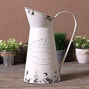 Yoillione Metal Flower Vase, Rustic Jug Flower Vase Vintage, Shabby Chic Vase for Home Decor, French Country Style Vase, White
