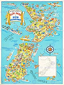Amazoncom MAP NEW ZEALAND FUN NORTH SOUTH ISLAND TOURISM FINE