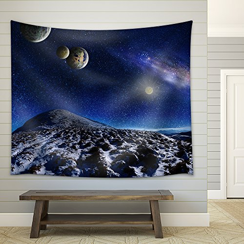 Night Space Landscape Milky Way Galaxy and Planets over Mountains Fabric Wall