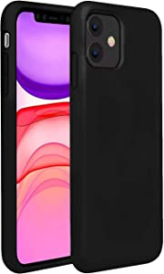 Compatible with iPhone 11 6.1 Inch 2019 case,Mobile Liquid Silicone Case with Microfiber Lining,Matte Finish Coating Grip Slim Fit Cover Shock-Absorption Bumper -Black