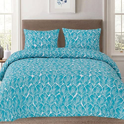 Sweet Home Collection Duvet Cover 3 Piece Set Unique Stylish Tropical Leaf Teal Pattern, Full Queen