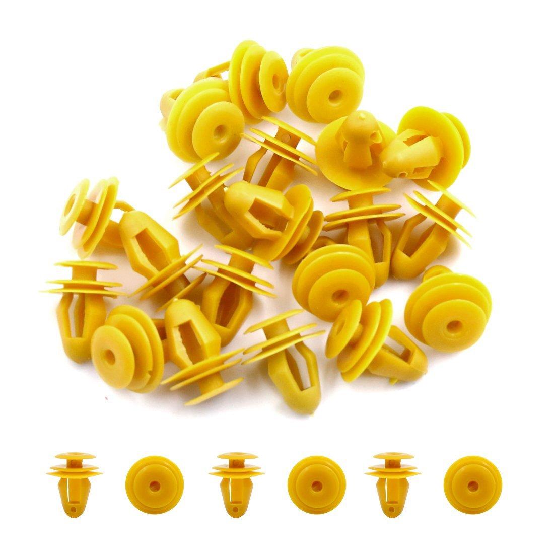 Amazon.com: eDealMax Clips de 10mm 20Pcs Amarillo diámetro del agujero de remaches de plástico de sujeción Para Fender Vehículo: Automotive