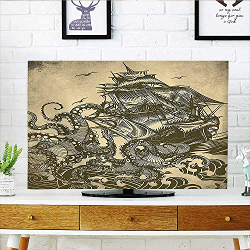 Sepia Wheel Ships - Jiahonghome Dust Resistant Television Protector Collection Sailor Ship Octopus Sepia Print Accessories Yellow Brown tv dust Cover W25 x H45 INCH/TV 47